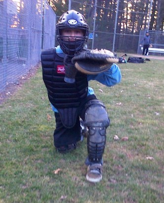 Shawn in catchers uniform april 2015
