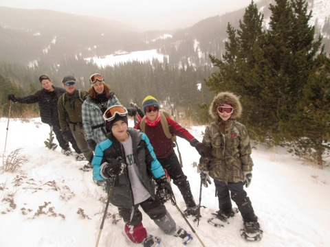 Snow shoeing group shot 2